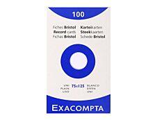 Exacompta - 100 Fiches bristol - 75 x 125 mm - blanc - uni