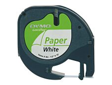 Dymo LetraTAG - Ruban d'étiquettes papier auto-adhésives - 1 rouleau (12 mm x 4 m) - fond blanc écriture noire
