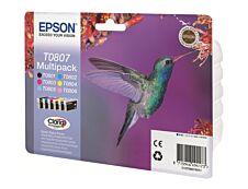 Epson T0807 Colibri - Pack de 6 - noir, cyan, cyan clair, magenta, magenta clair, jaune - cartouche d'encre originale