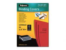 Fellowes - 25 couvertures à reliure A4 (21 x 29,7 cm) - carton grain cuir  250 g/m² - Rouge