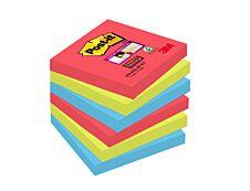 Post It - Pack de 6 Blocs - Notes Super Sticky - 76 x 76 mm - Bora Bora