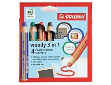 Stabilo Woody 3 in 1 -Pack de 4 crayons de couleurs pointe large-  pour ardoise - 1 taille-crayon - 1 chiffonnette - couleurs assorties