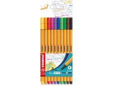 Stabilo Point 88 -Pack de 10-  feutres fins - 0,4 mm - couleurs assorties