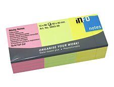 Global Distribution - Pack de 12 Blocs - Notes adhésives - 80 feuilles - 50 x 40 mm - couleurs assorties