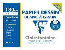 Clairefontaine - pochette papier à dessin  - 12 feuilles - A4 - 180G - blanc