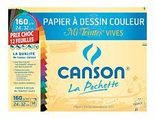 Canson - pochette papier à dessin  - 12 feuilles - 24 x 32 cm - 160G