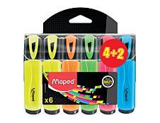 MAPED - Pack de 6 - surligneurs - couleurs assorties