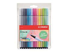 Stabilo Pen 68 - Pack de 15 feutres pastel