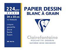 Clairefontaine - Dessin à Grain - pochette papier à dessin  - 12 feuilles - 24 x 32 cm - 224G - blanc