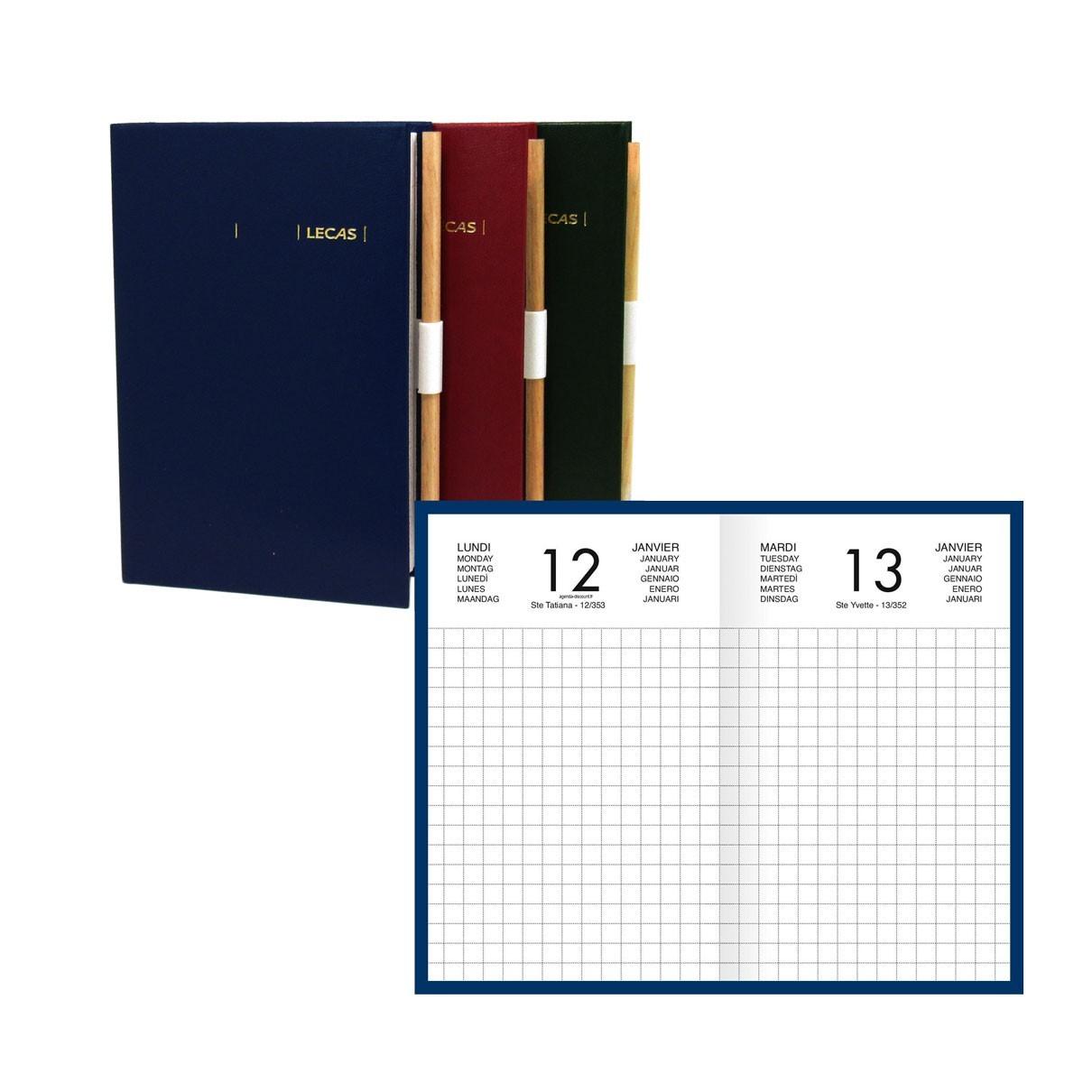 Lecas Chantier - Agenda 1 jour par page avec crayon - 9 x 15 cm - disponible dans diffférentes couleurs