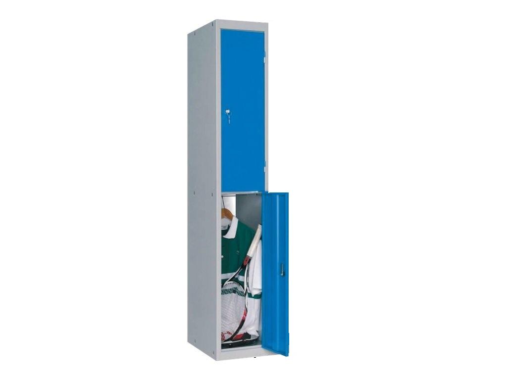 Vestiaire 2 casiers (à monter) - colonne de départ - H180 x L30 x P50 cm - gris/bleu