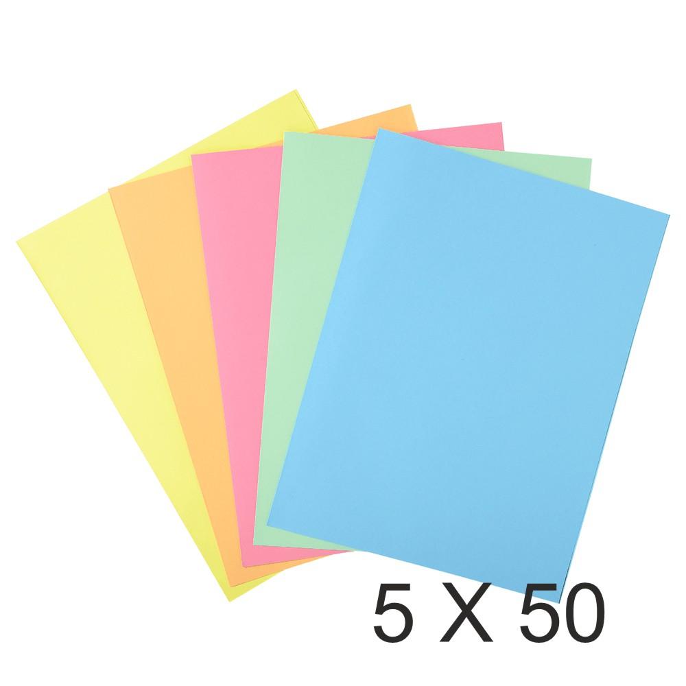 Exacompta Super 210 - 5 Paquets de 50 Chemises 1 rabat - 210 gr - couleurs assorties