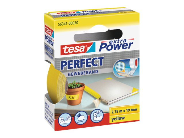 Tesa extra Power Perfect - Ruban adhésif en toile - 19 mm x 2.75 m - jaune
