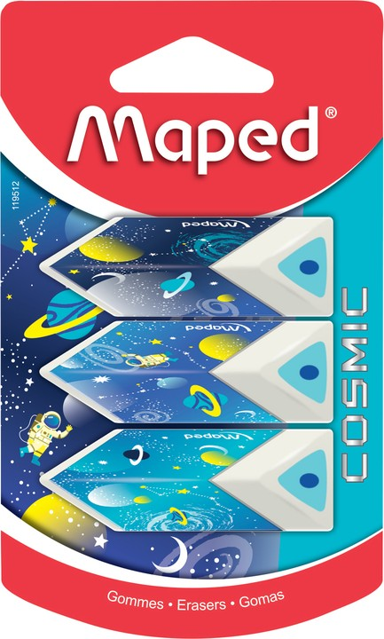 Maped Cosmic Kids - Pack de 3 gommes