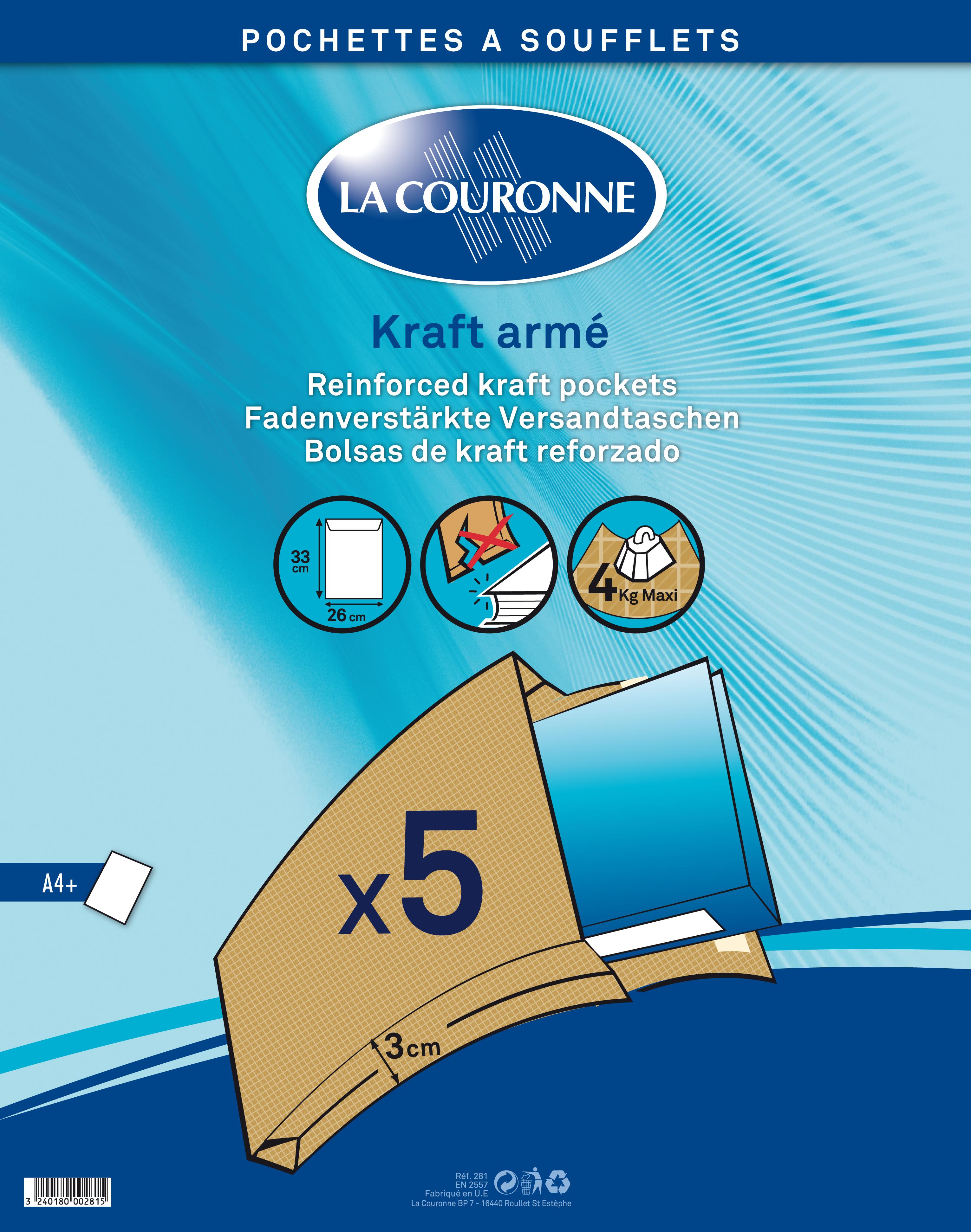 La Couronne - Enveloppe - 260 x 330 mm - avec bande (auto-adhésif) - brun - pack de 5