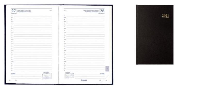 Lima Saturnus - Agenda 1 jour par page - 13,3 x 20,8 cm - noir - Brepols