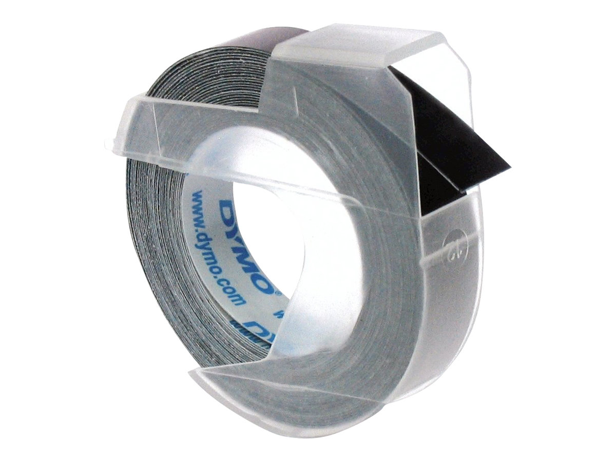 Dymo - Ruban d'étiquettes auto-adhésives 3D - 1 rouleau (9 mm x 3 m) - fond noir