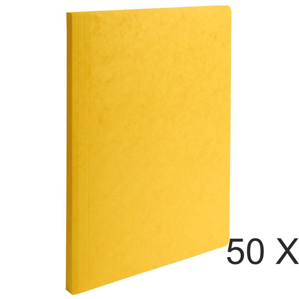 Exacompta - 50 Chemises à dos rainé - 400 gr - jaune