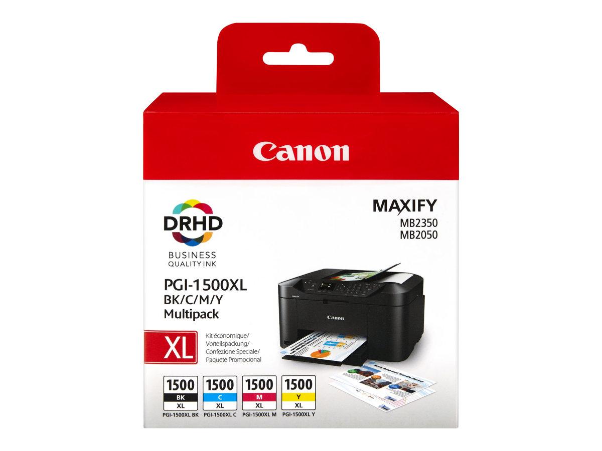 Canon PGI-1500XL - Pack de 4 - noir, cyan, magenta, jaune - cartouche d'encre originale