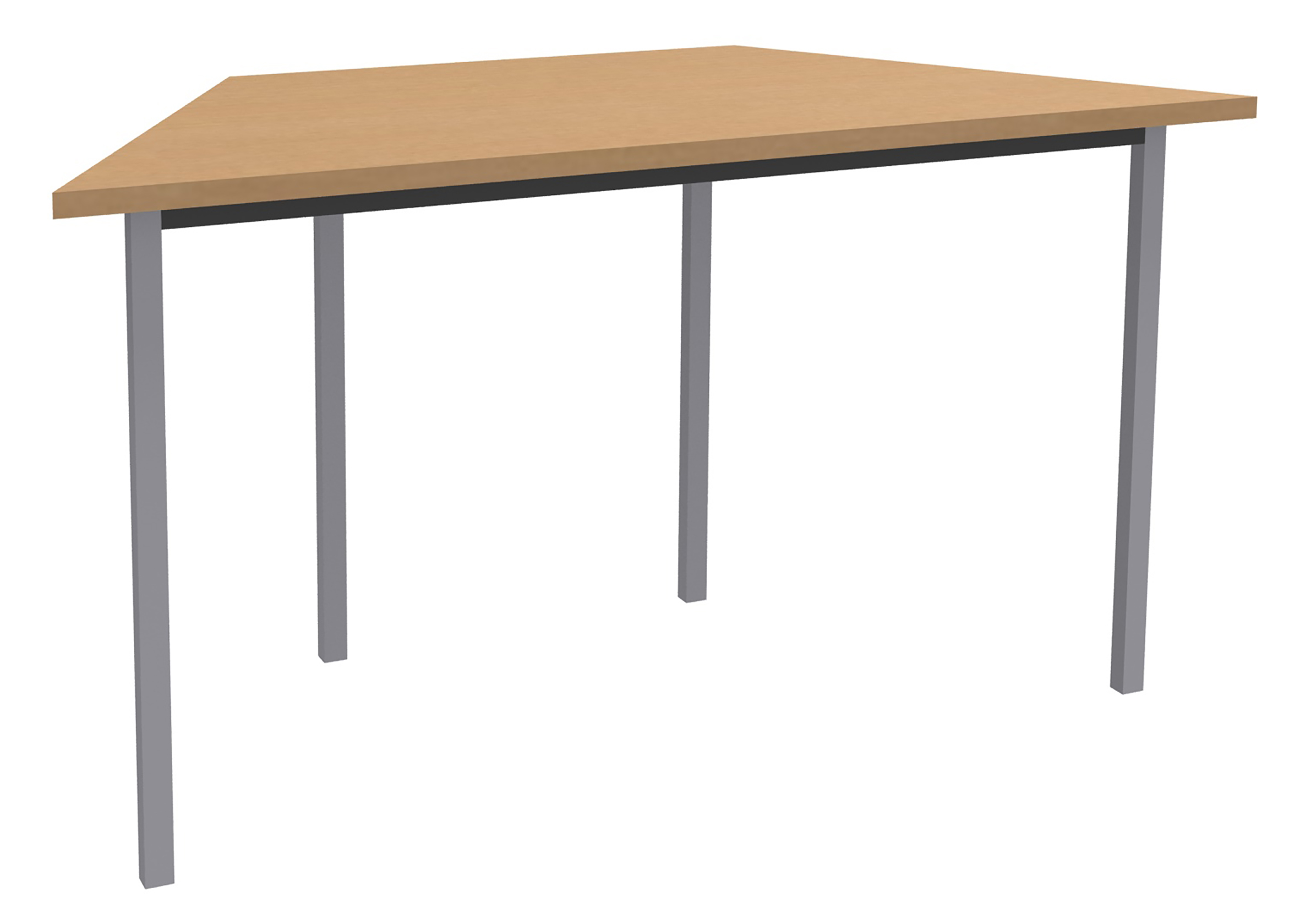 Table de réunion Trapèze - 120 x 60 cm - Pieds aluminium - imitation Hêtre