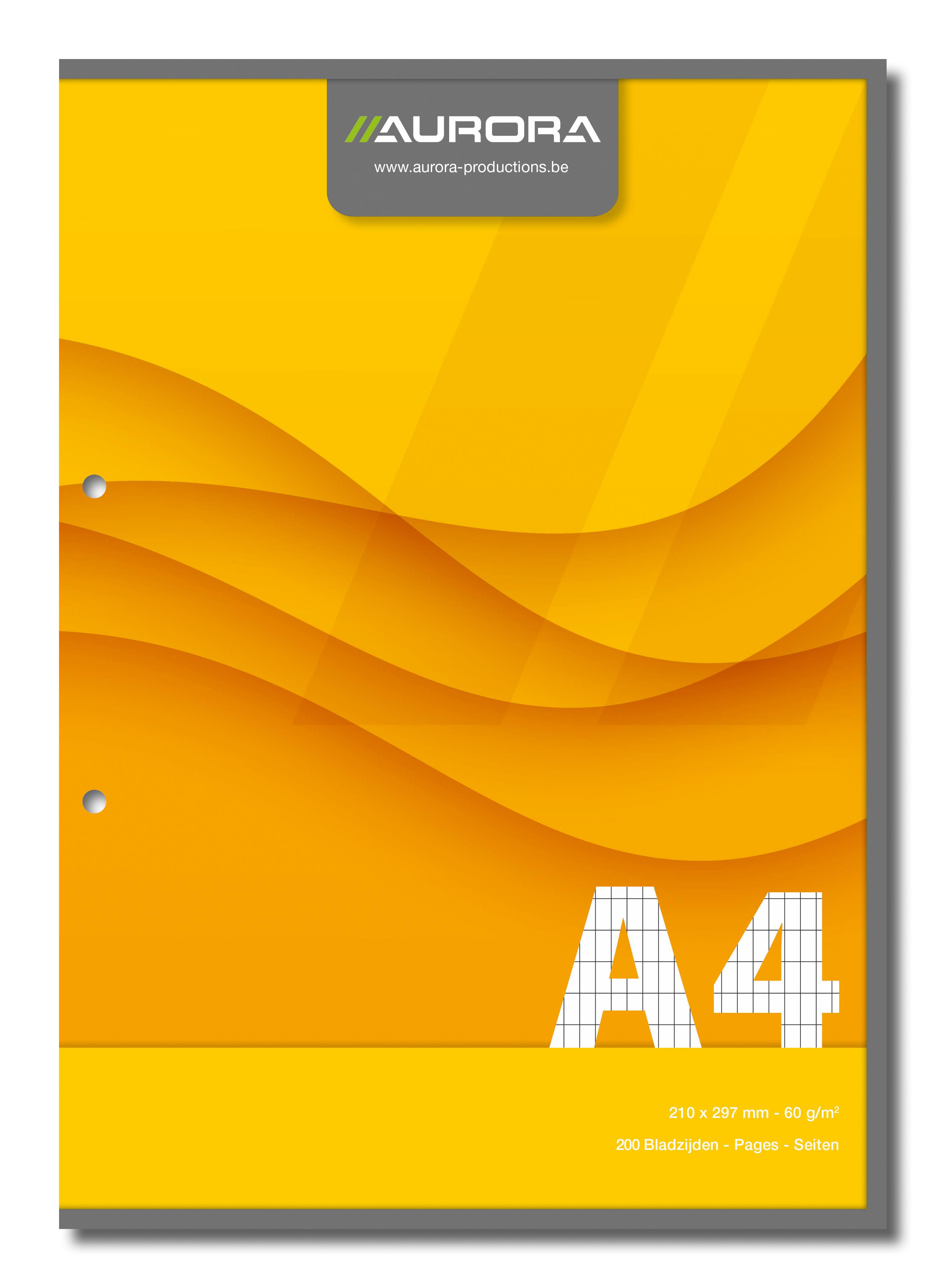 Aurora - Bloc de cours A4 - quadrille 4x8 mm + marge - 200 pages - perforation 2 trous - 60g