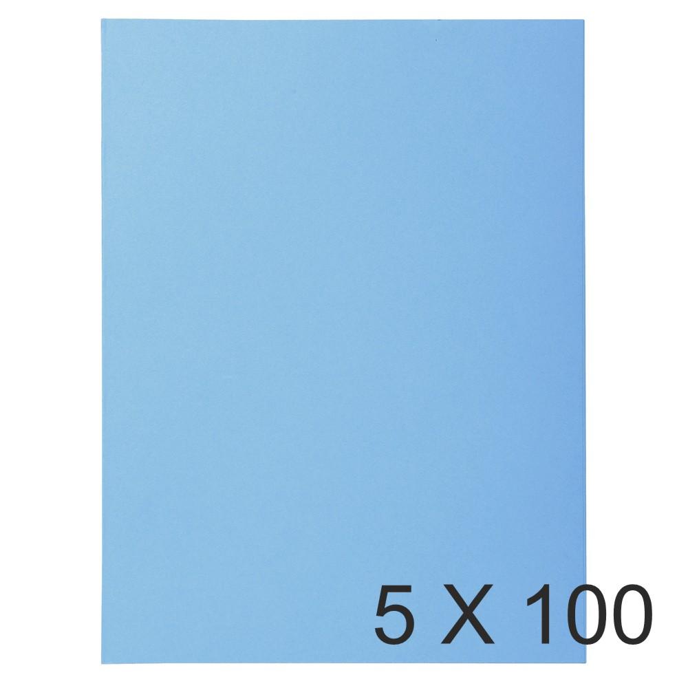 Exacompta Super 160 - 5 Paquets de 100 Chemises - 160 gr - bleu vif