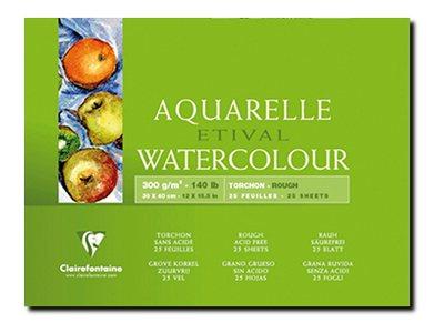 Clairefontaine Etival - Bloc de papier aquarelle grain torchon - 25 feuilles 30 x 40 cm - 300 g/m²