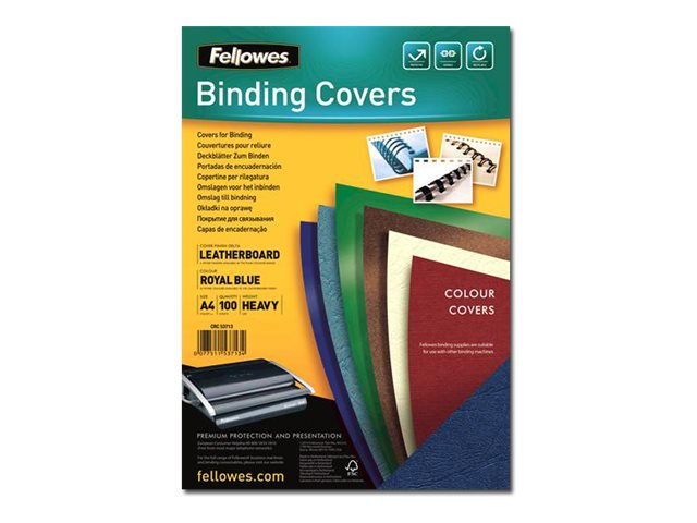 Fellowes - 100 couvertures à reliure A4 (21 x 29,7 cm) - carton grain cuir  250 g/m² - bleu royal
