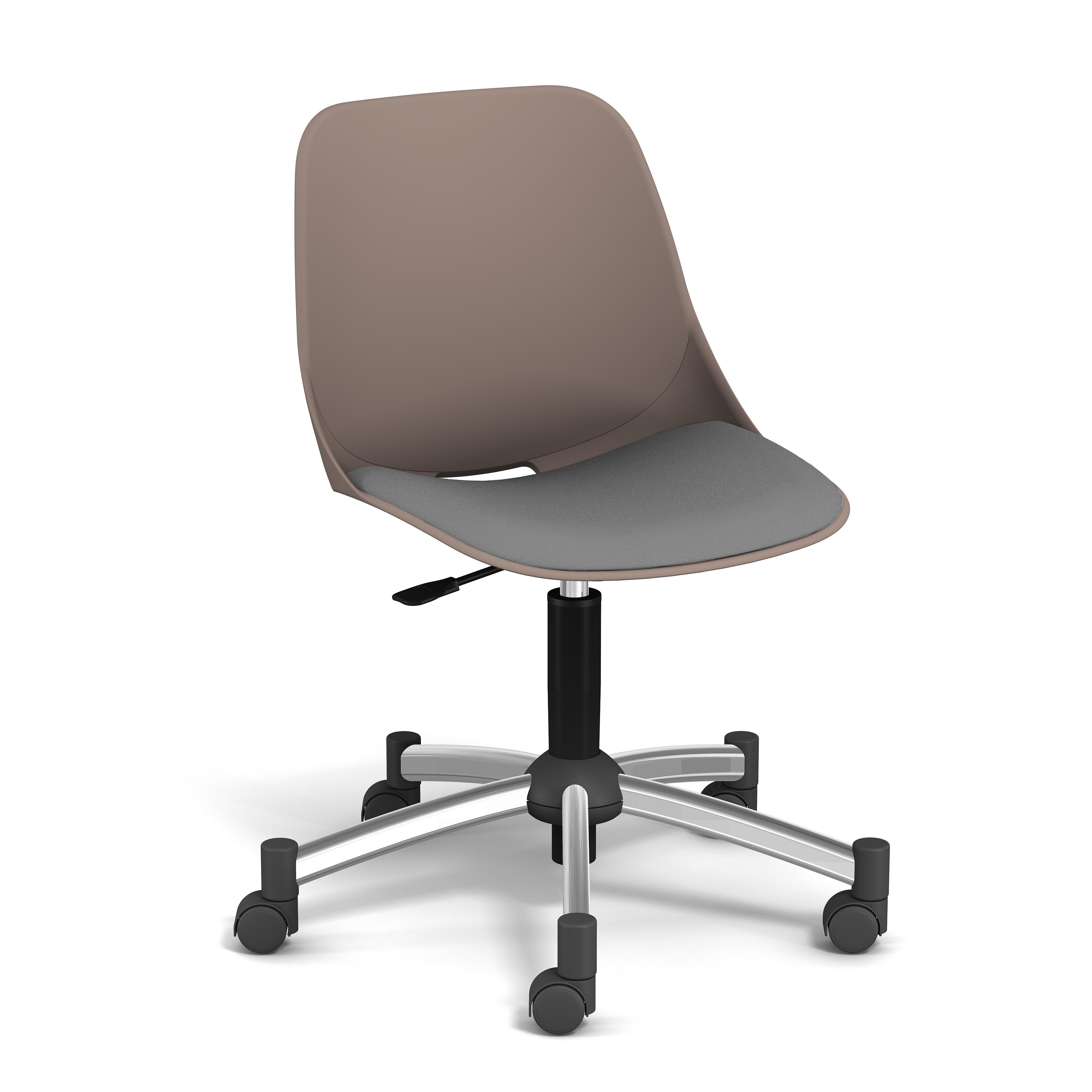 Chaise PALM - coque taupe - assise gris clair - base chromé
