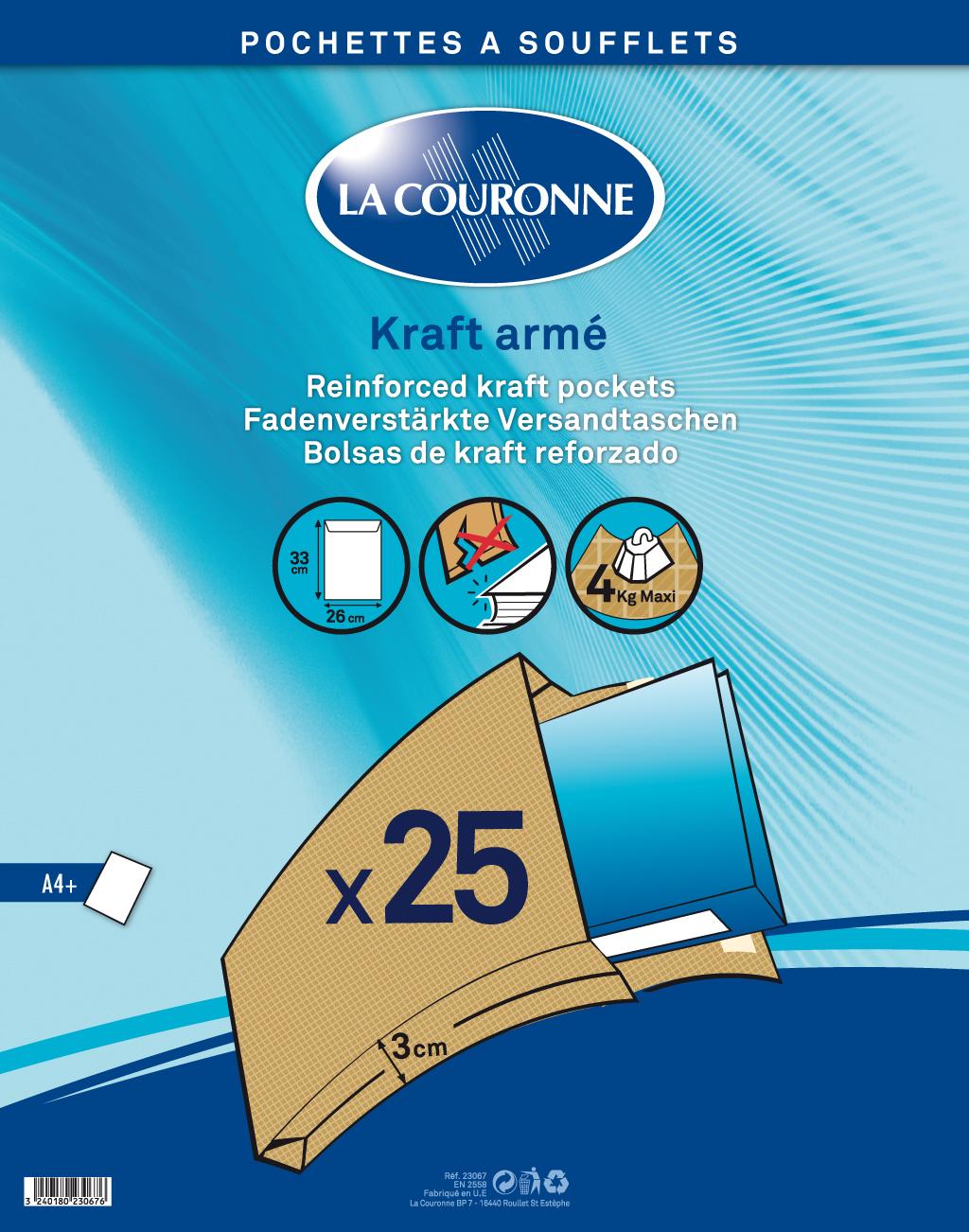 La Couronne - 25 Pochettes Kraft à soufflets - 260 x 330 mm - carré - avec bande (auto-adhésif)