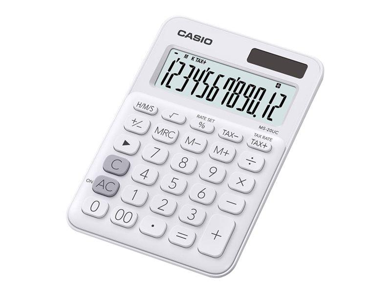 Calculatrice de bureau Casio MS-20UC - 12 chiffres - alimentation batterie et solaire - blanc