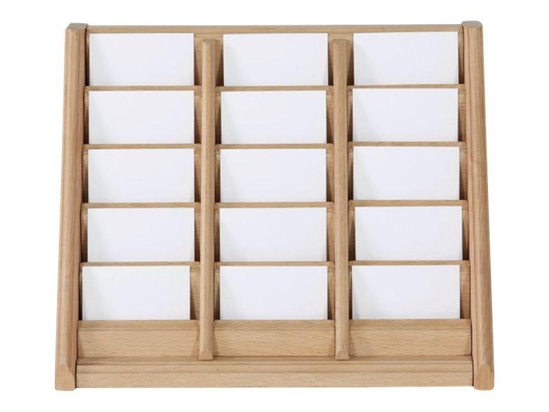 Promocome - Présentoir de carte de visites mural - 3 x 5 compartiments - bois foncé