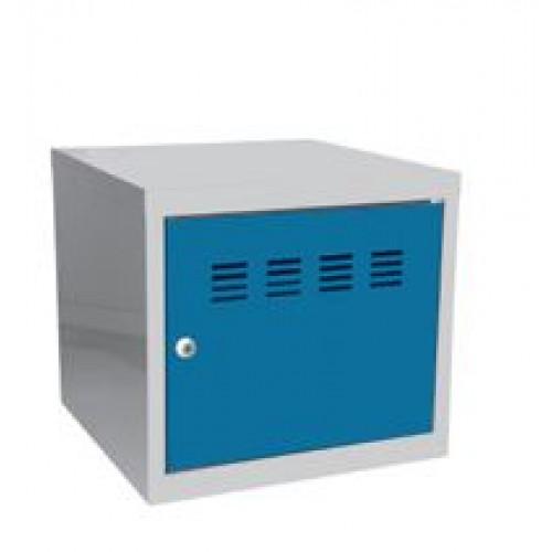 Casier cube / Vestiaire - 36 x 40 x 40 cm - aluminium/bleu