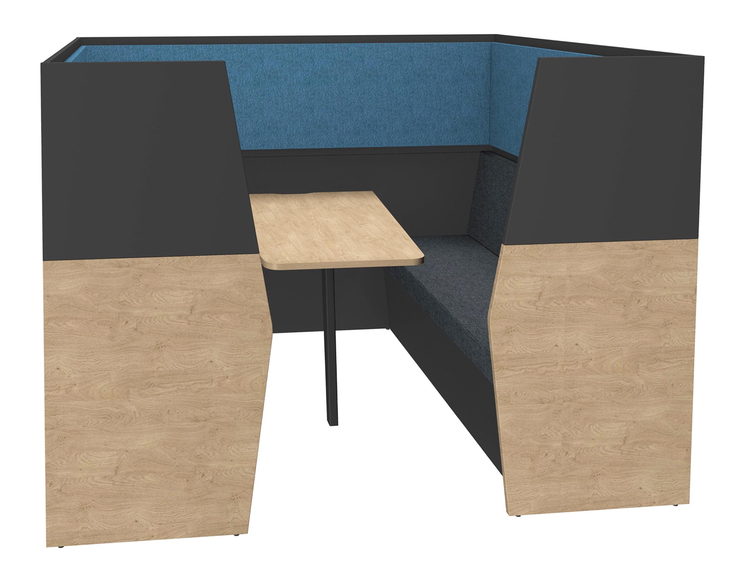 Box acoustique IN'TEAM - L210 x H 150 x P170 cm - 6 places avec table - structure chêne clair et carbone - panneaux bleu chiné