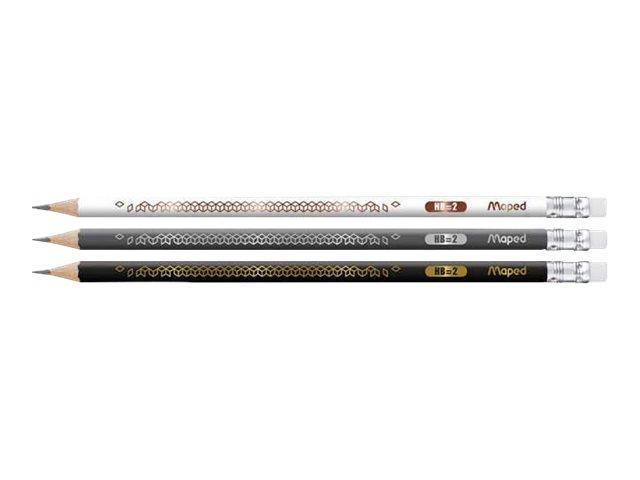 Maped BlackPep's - Pack de 3 crayons à papier décorés - HB - embout gomme