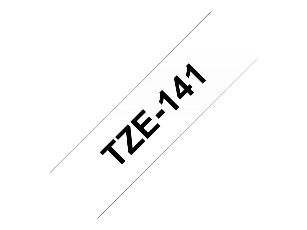 Brother TZe141 - Ruban d'étiquettes auto-adhésives - 1 rouleau (18 mm x 8 m) - fond transparent écriture noire