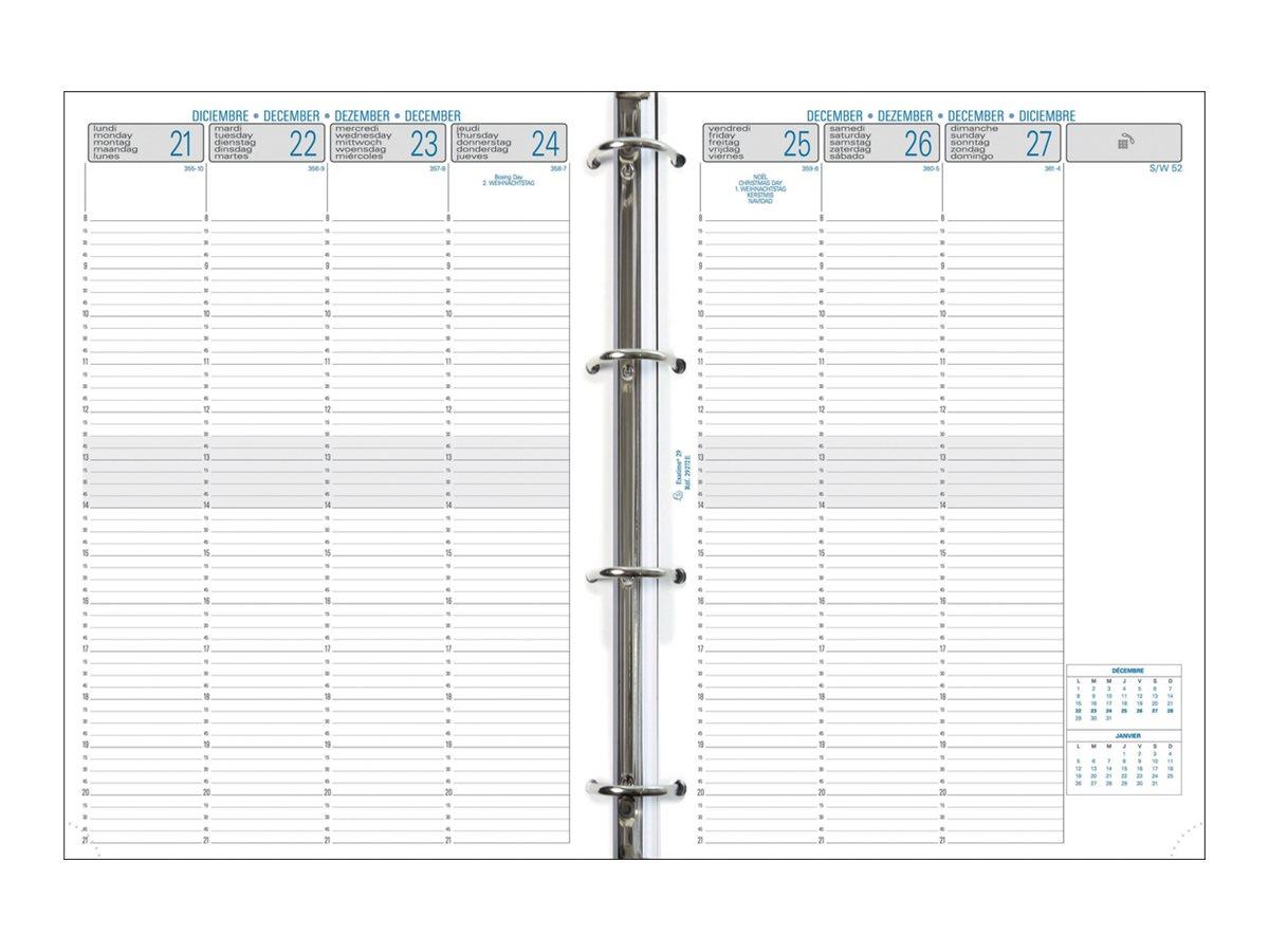 Exacompta Exatime 29 - Recharge pour organiseur - 1 semaine sur 2 pages 1/4H - 21 x 29,7 cm