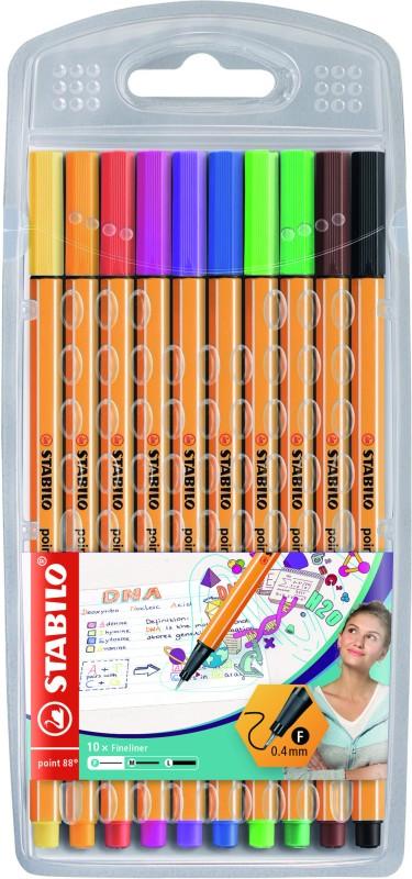 STABILO point 88 - Pack de 10 feutres fins - 0.4 mm - couleurs assorties