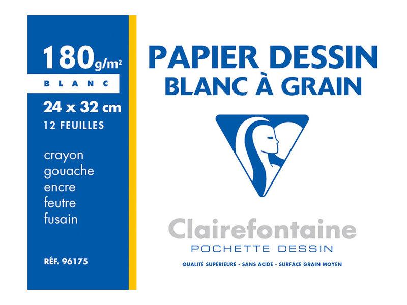 Clairefontaine - Pochette papier à dessin - 12 feuilles - A4 - 180 gr - blanc