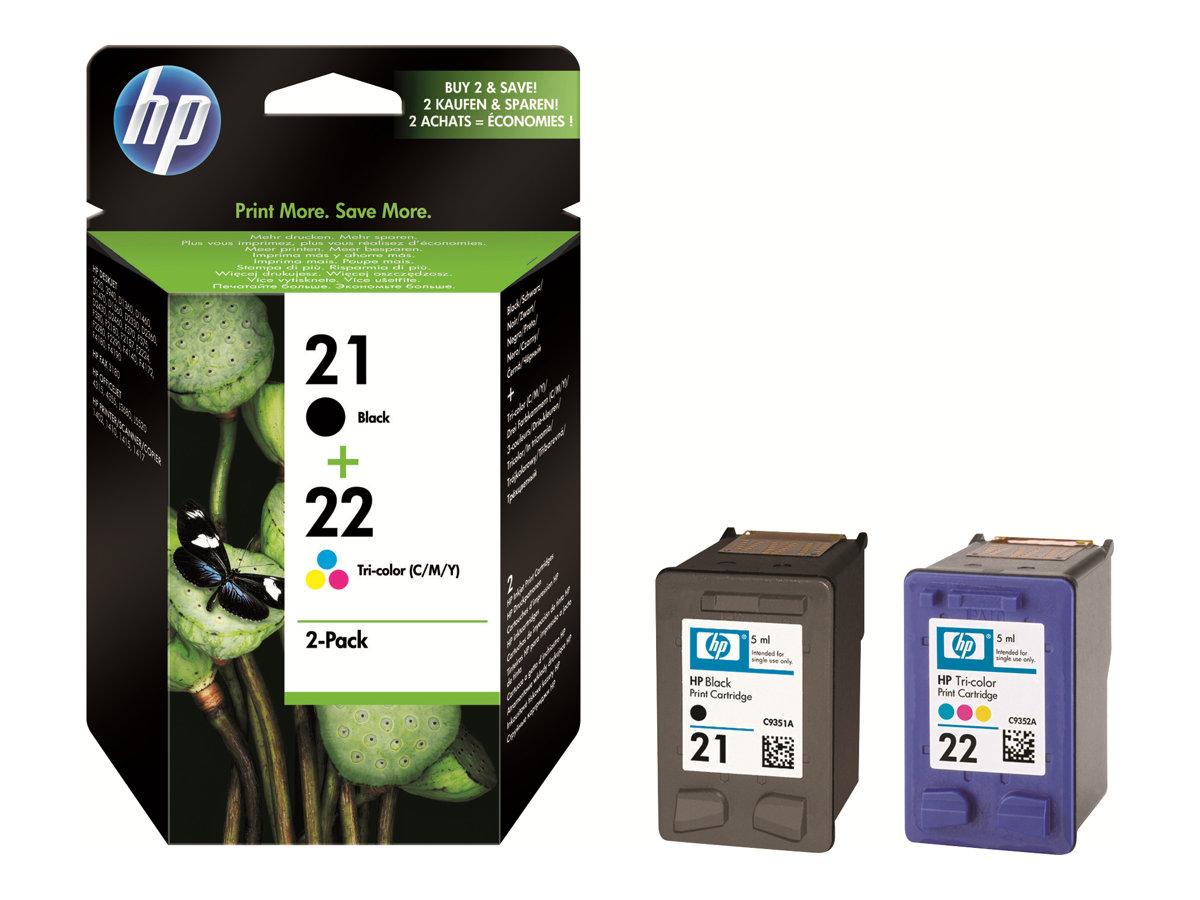 HP 21/22 - Pack de 2 - noir, cyan, magenta, jaune - cartouche d'encre originale