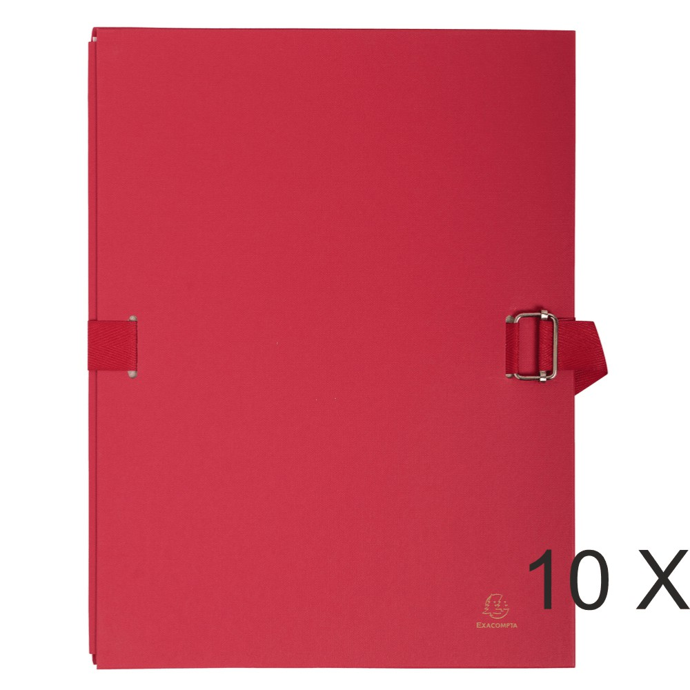 Exacompta - 10 Chemises extensibles à sangle avec rabat papier - rouge