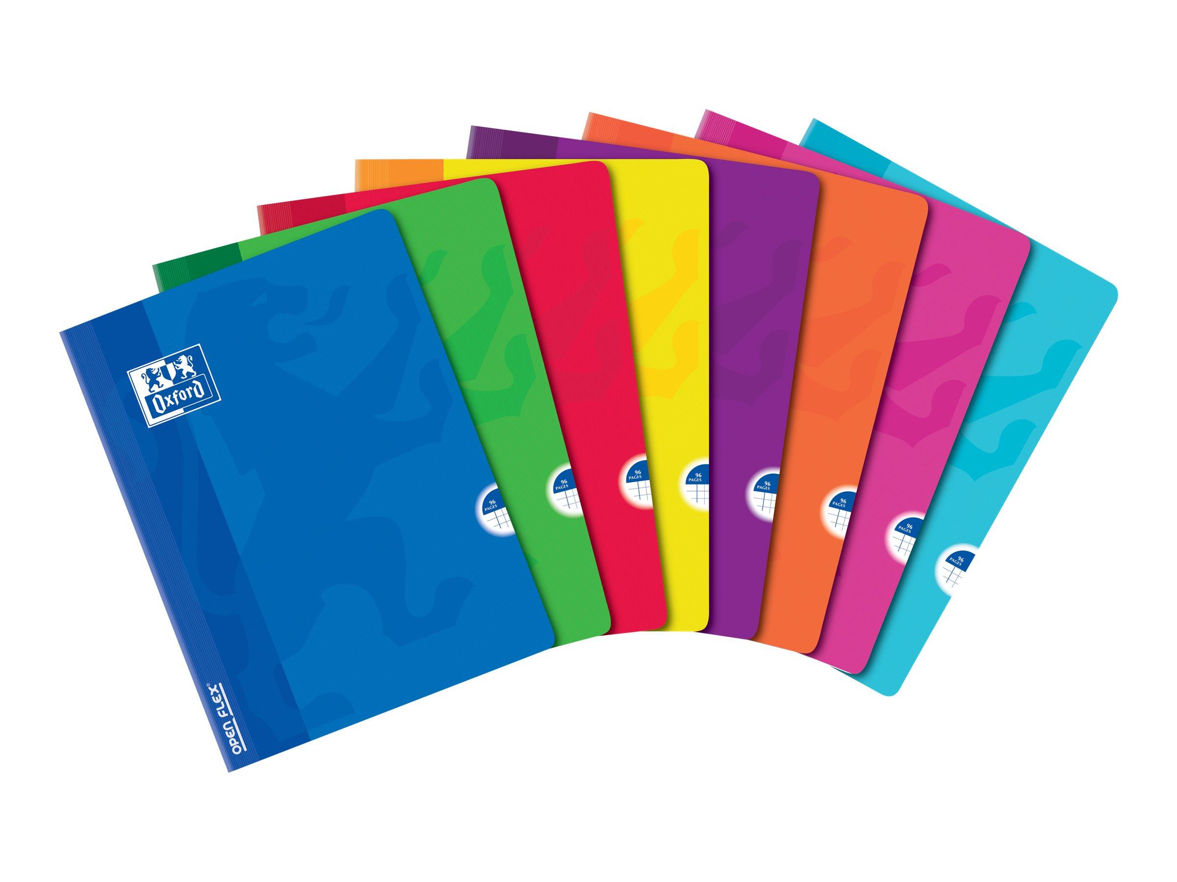 Oxford Openflex - Cahier polypro 24 x 32 cm - 96 pages - petits carreaux (5x5 mm) - disponible dans différentes couleurs