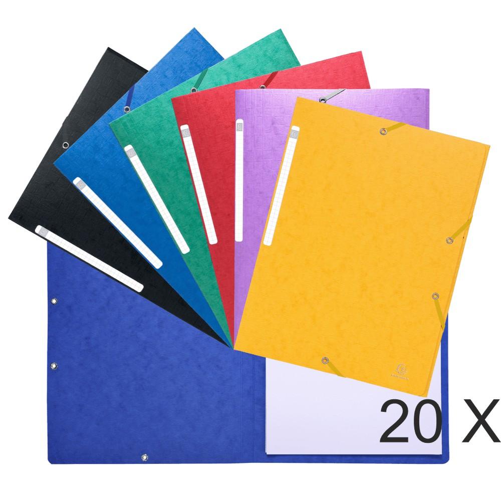 Exacompta Scotten - 20 Chemises sans rabat - A4 - couleurs assorties