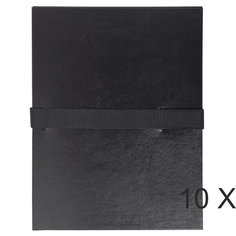 Exacompta - 10 Chemises extensibles à sangle - noir