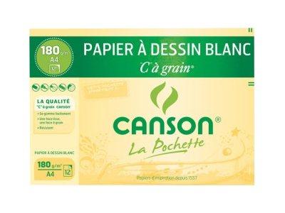 Canson C à grain - Pochette papier à dessin - 12 feuilles - A4 - 180 gr -