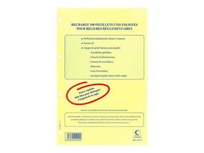 ELVE - Recharge 100 feuillets numérotés pour reliures réglementaires - A4