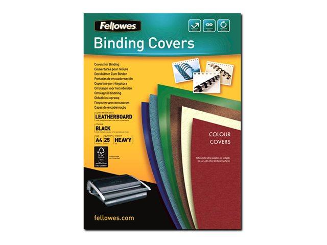 Fellowes - 25 couverture à reliure A4 (21 x 29,7 cm) - carton grain cuir  250 g/m² - Noir