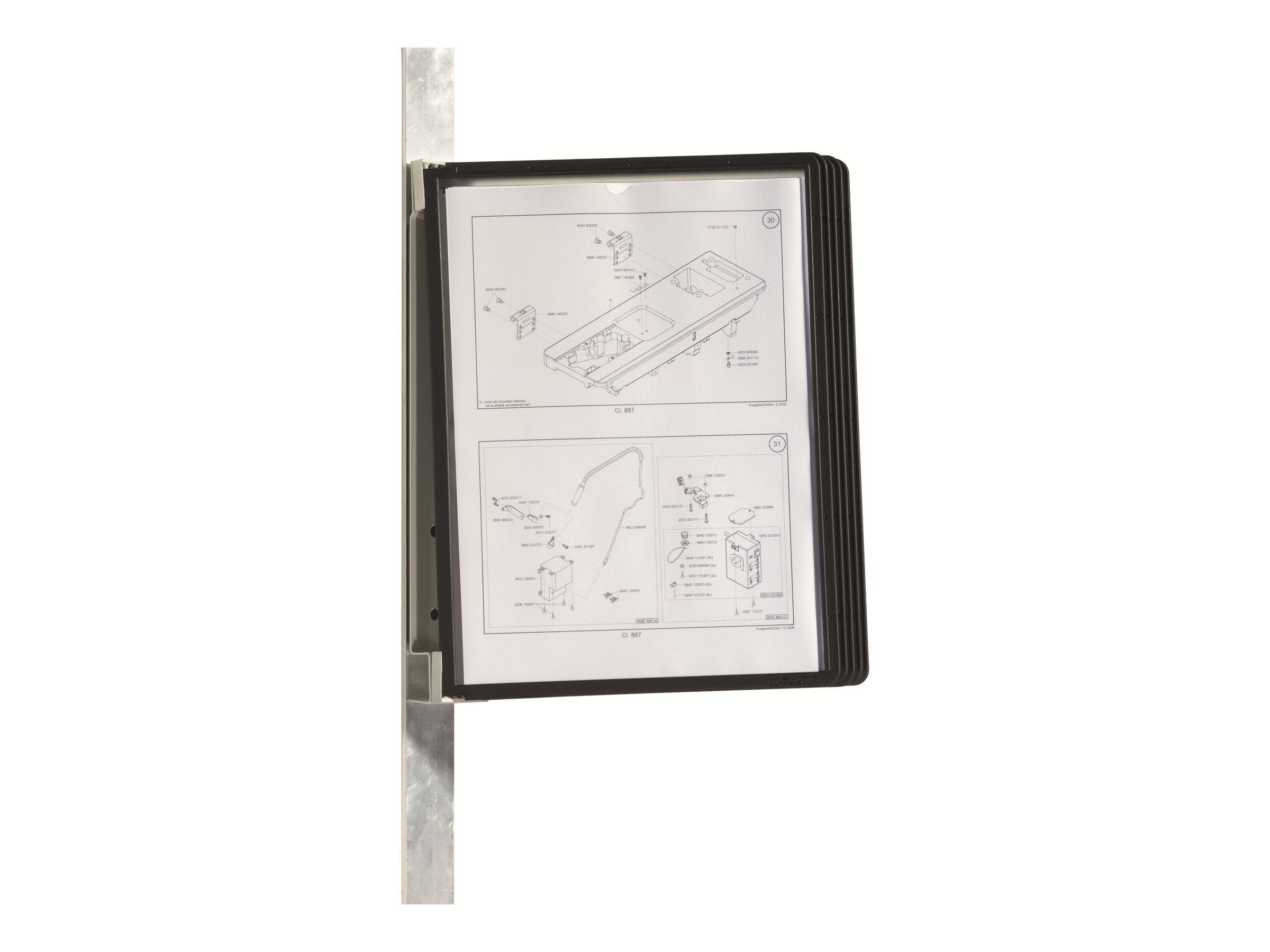 Durable Vario - Support mural magnétique avec 5 pochettes A4 - noir