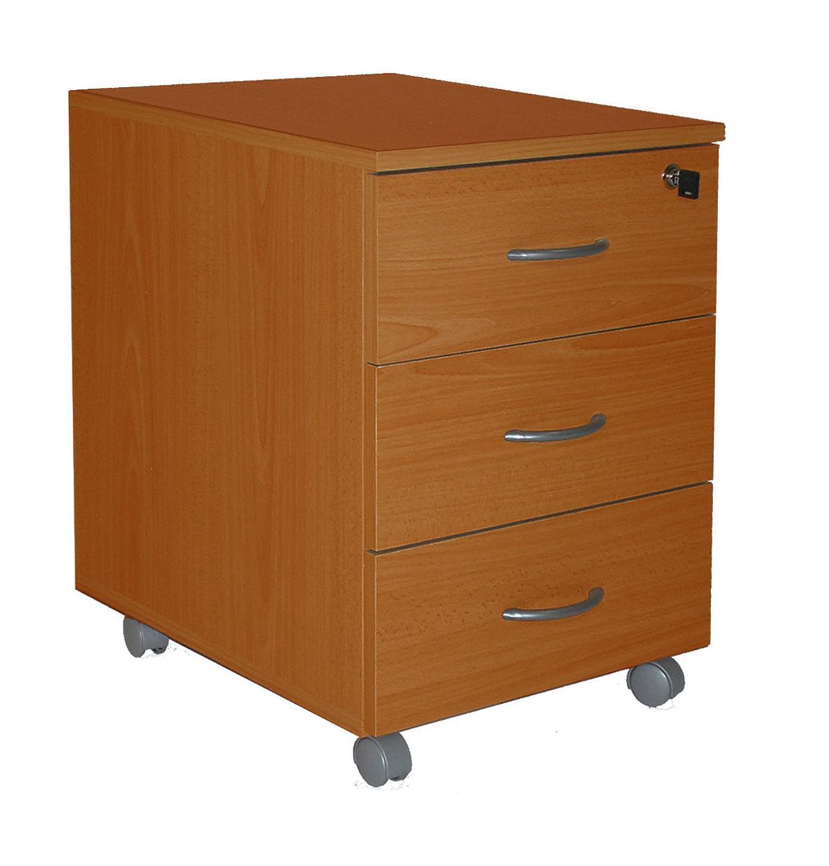 Caisson mobile WINCH 3 tiroirs dont 1 pour dossiers suspendus - Imitation Merisier