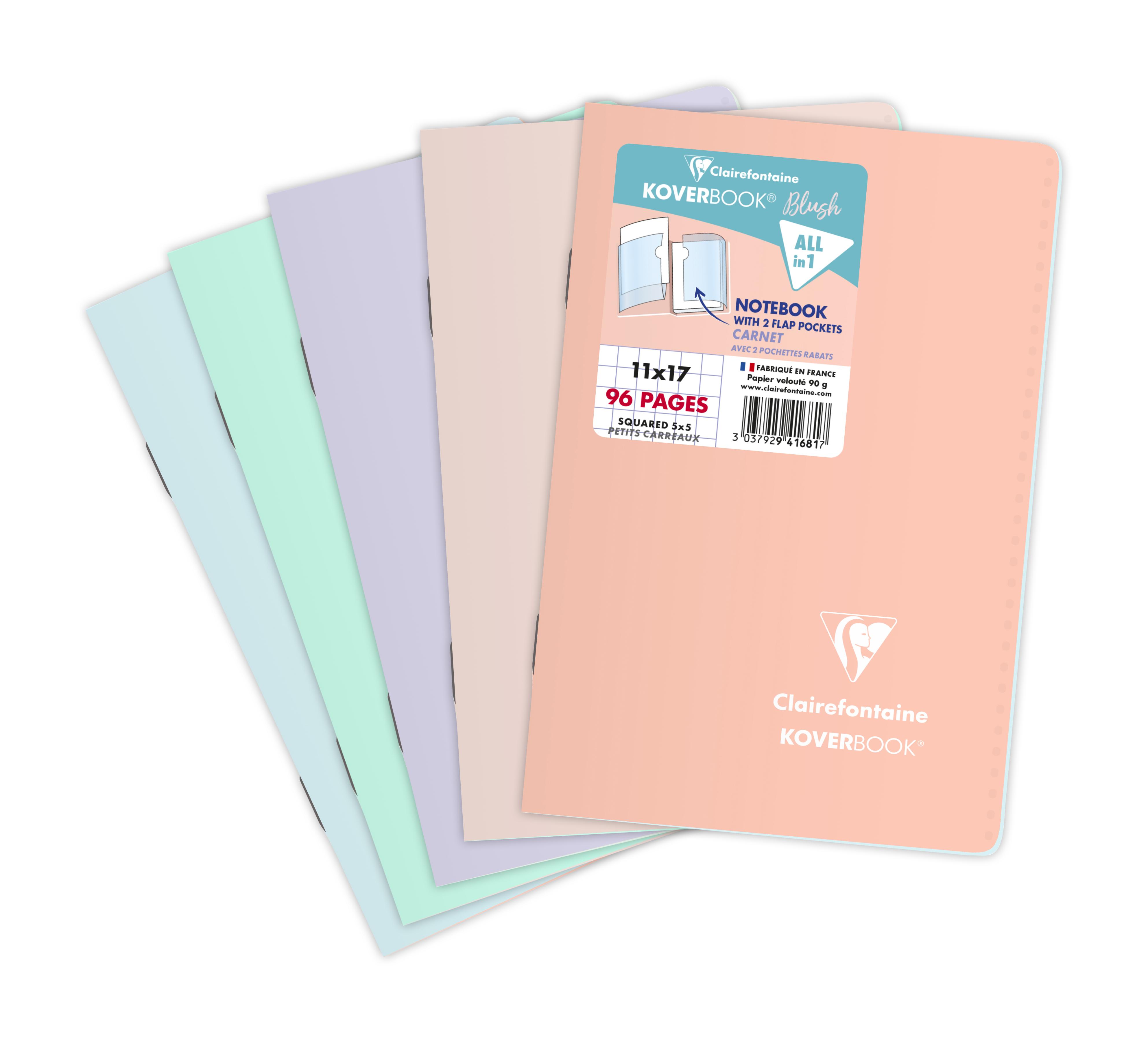 Clairefontaine Koverbook - Carnet polypro 11 x 17 cm - 96 pages - petits carreaux (5x5 mm) - disponible dans différentes couleurs pastels